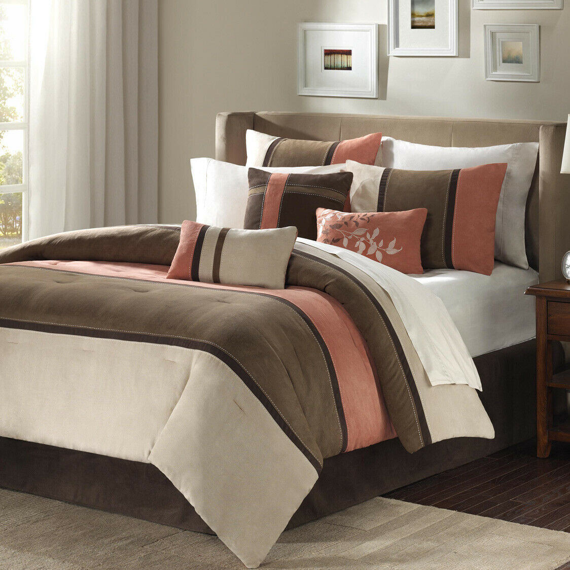 Palisades Queen Size 7pc Comforter Set in Blue Grey /& Ivory Striped Micro Suede