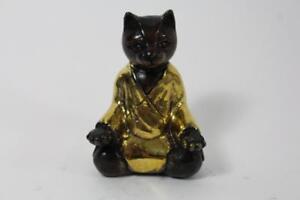 Skulptur-Figur-Bronze-teilpoliert-Yoga-Katze