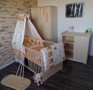 Das Bild Wird Geladen Babyzimmer Komplett  Set Babybett Kommode Schrank Bettwaesche Set