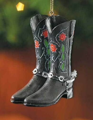 Cowboy Black /& Red Flowered Boots Ornament