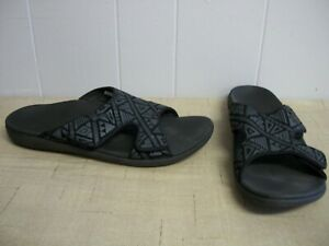 Spenco-TRIBAL-Mens-Orthotic-Slide-Sandals-Carbon-Black-amp-Pewter-Gray-Size-12-NEW