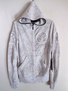 Mens-Salvage-sun-spade-leather-design-CEMENT-GRAY-hoodie-jacket-Karma-Size-L