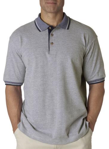 UltraClub Men/'s Relaxed Fit 100/% Cotton Multi Stripe Trim Pique Polo Shirt 8537