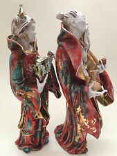 "Chinese Figurine Italy Man Beard Woman Couple Robe Porcelain Numbered 10"" Crown"