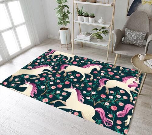Area Rug Home Non-slip Bedroom Floor Carpet Mat Kids Play Rug Unicorn /& Flower
