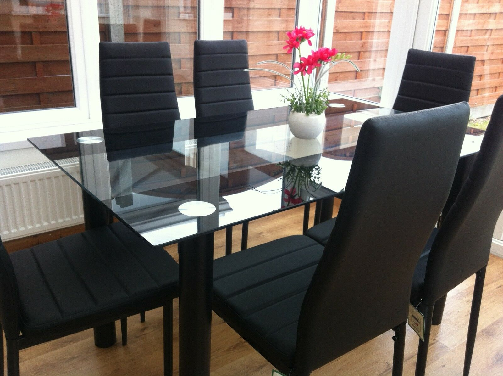 Stunning Glass Dining Table Set And With 4 Or 6 Faux Leather Chairs