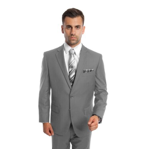 Men/'s Modern Fit Suit Two Button Solid Formal Two Piece Jacket Business Suits