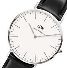 Daniel Wellington Men Women Quartz Watch Classic Sheffield Silver Black Leather