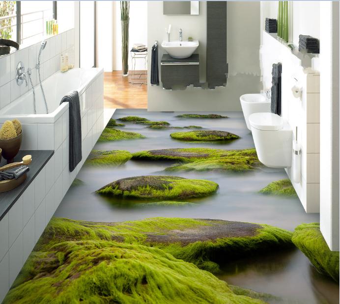 3D Moss Stone Water 78 Floor WallPaper Murals Wall Print Decal AJ WALLPAPER US