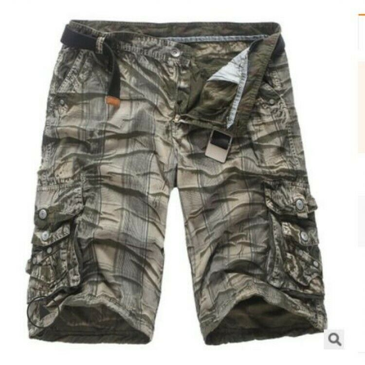 Mens Summer Mid-rise Pirate shorts Camouflage Loose Fit Cargo Causl Short Pants