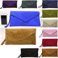 Benagio New Real Italian Suede Leather Clutch Wedding Party Envelope Bag Purse