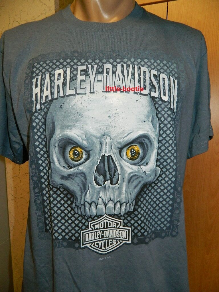Harley-Davidson Shirt T-Shirt Herren Kurzarm blau grau Neu M oder L Skull Fest