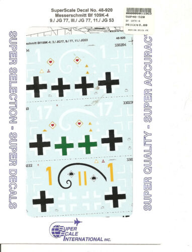 Superscale Decal 48-920 Messerschmitt Bf 109K-4