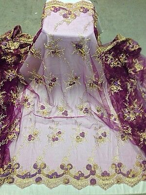 """PURPLE/GOLD COREDED EMBROIDERY MESH LACE FABRIC 48"""" WIDE 3 YARD"""