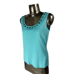 Marble Cotton Turquoise Tank Top T-Shirt Vest NEW UK M 12 (EU40) Women's RRP £30