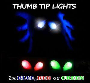 2 X S'Allume Pouce Doigt Pointe Tour de Magie Bout Deux en Rouge Vert Blanc