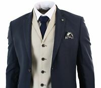 Mens Navy Blue Beige Cream Ivory 3 Piece Suit Tailored Fit Smart Formal Wedding