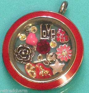 AUTHENTIC-ORIGAMI-OWL-LOCKET-CHAIN-amp-CHARMS-CHOCOLATE-HEART-FLOWER-LOVE