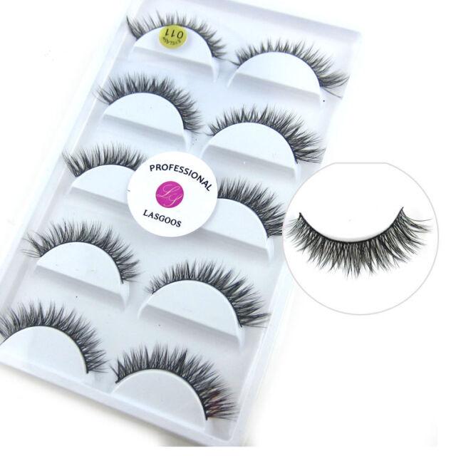 a262653958c LASGOOS 5 Pairs/Box 100% Real Mink Fur 3D False Eyelashes Short Fake Eye