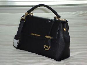 825a610f8eef NWT Michael Kors AVA Small Top Handle Satchel Black Saffiano Leather ...