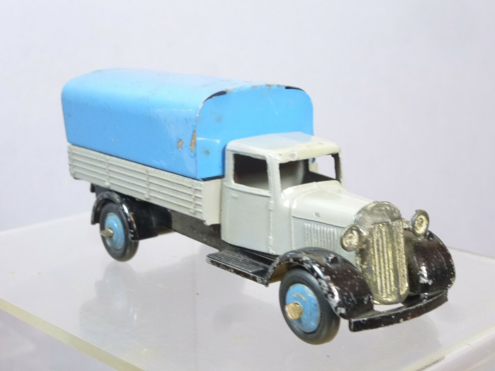 VINTAGE DINKY TOYS MODEL No.25b COVERED WAGON  ( GREY WITH blueE TILT   HUBS )