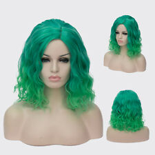 Durable Heat Short Beach Waves Hairstyle Cruly Wig Green gradient For Wome15.7''