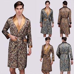 Image is loading Men-Summer-Sleepwear-Silk-Satin-Pyjamas-Kimono-Nightgown- c913e4755