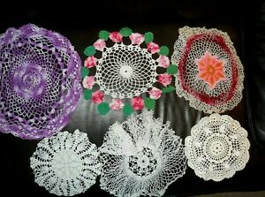 Vintage Hand Crocheted Assorted Sizes & Patterns Doilies 6