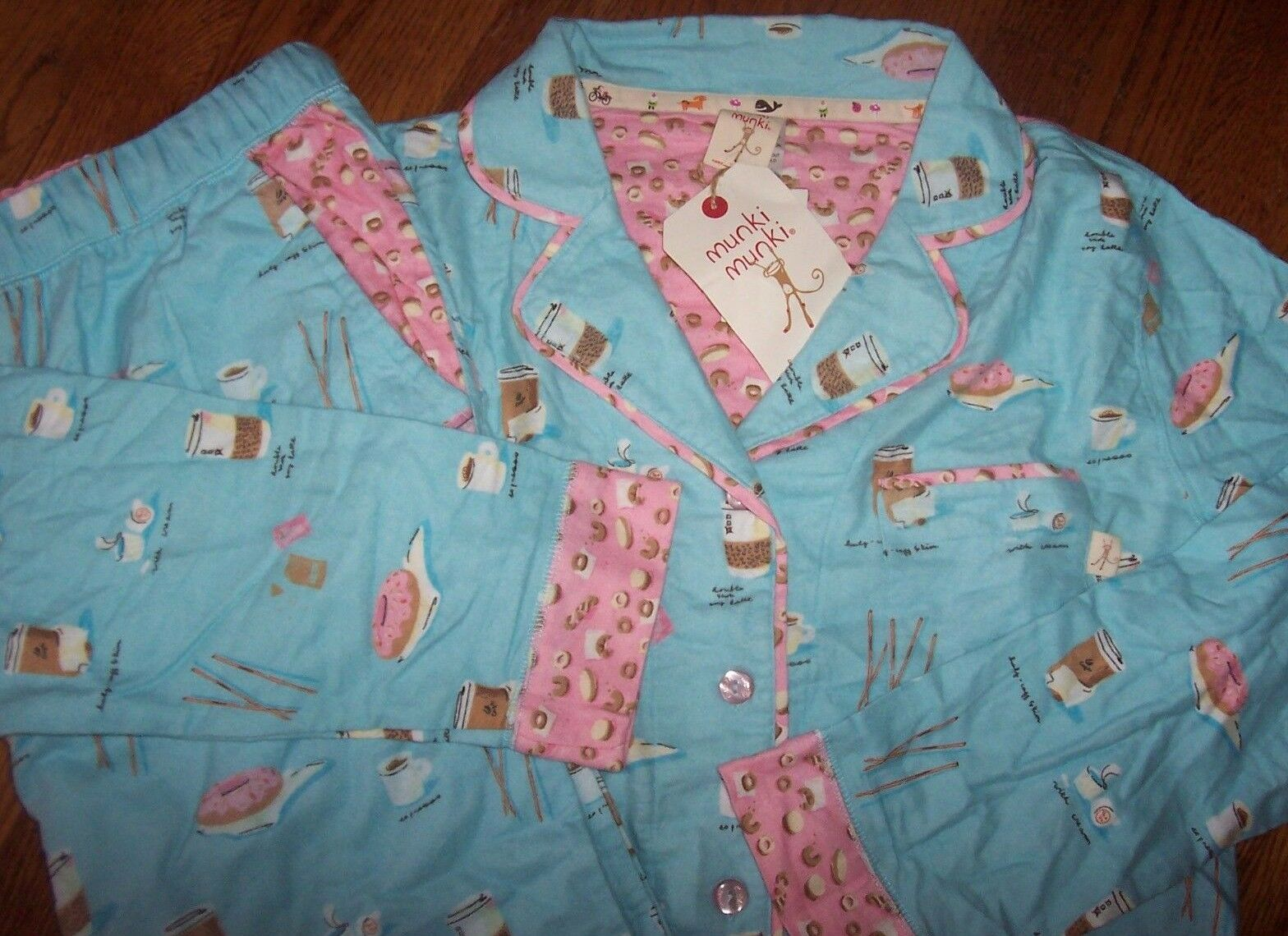 NWT Munki Munki Aqua bluee Pink Bamboo Cotton FLANNEL Pajama Set COFFEE DONUT XXL