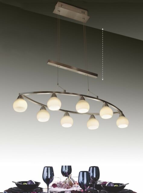 Modern Contemporary Dining Room Island 8 Light Rise And Fall Led Pendant