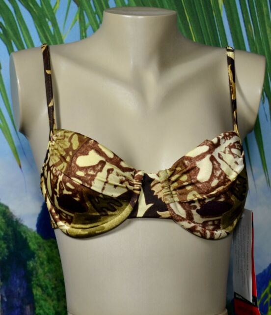 NEWPORT NEWS NOS NWT Green Eggplant Brown Pattern Swim Bikini Top 10 Sun Streak