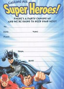 JUSTICE-LEAGUE-SUPERMAN-BATMAN-FLASH-PACK-OF-10-PARTY-INVITATIONS-NEW-GIFT