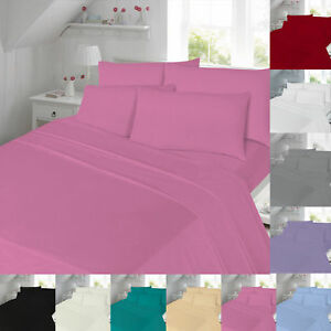 Extra-Deep-Flannelette-Thermal-Fitted-Flat-Bed-Sheet-Brushed-Cotton-King-Single