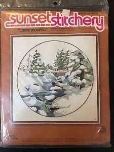 Sunset-Stitchery-Winter-Snowfall-Embroidery-Crewel-Kit-16x16-Vintage-Snow-Scene