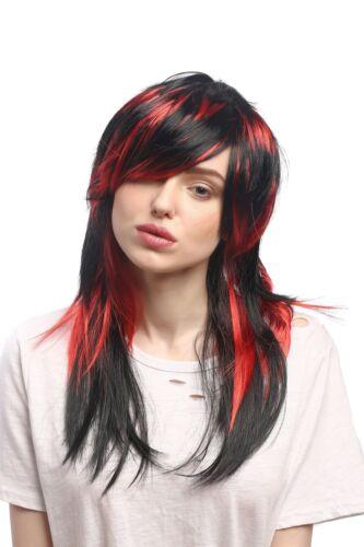 Perruque Femmes Halloween Noir rouge gesträhnt Long Lisse diablesse sorcière Emo Goth
