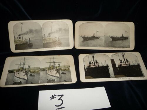 #104C antique LOT 0f 4 stereoview cards photographic images oF Military Ships