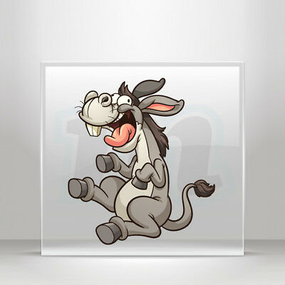Decals Stickers Happy donkey cartoon farm animal Vehicle A19 3W894