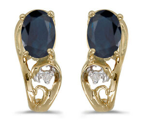 10k-Yellow-Gold-Oval-Sapphire-And-Diamond-Earrings