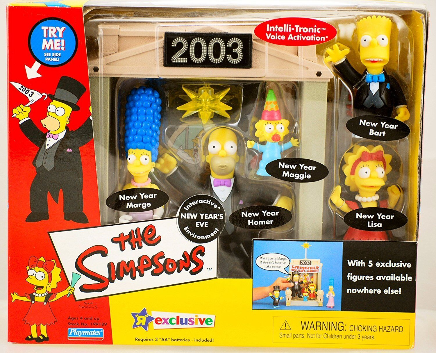 THE SIMPSON'S SIMPSON'S SIMPSON'S NEW YEARS EVE PLAYSET ENVIRONMENT - PLAYMATES 2003 fdb68a