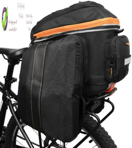 Clip On Ibera 2 In 1 Pakrak Commuter Bicycle Trunk Bag With Expandable Panniers