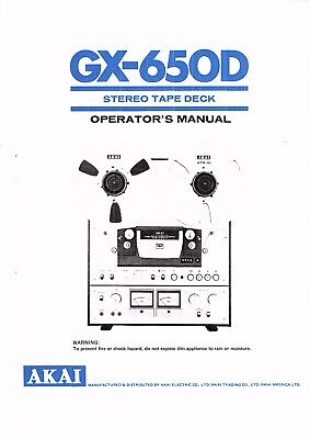 Akai GX-285D Tape Deck Owners Instruction Manual
