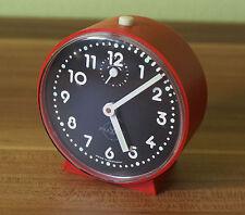 Alte Vintage Uhr Wecker Praxis ~70er Rot D=~9cm (D4)
