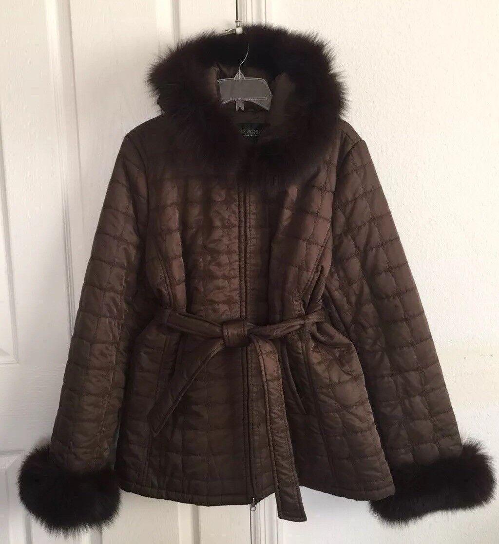 Rolf Schulte Marrón Con Capucha Acolchada teñido de adorno  de piel de zorro abrigo mangas largas con cinturón  los clientes primero
