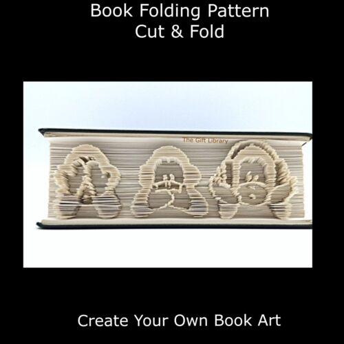See No Evil Vertical  monkeys Cut /& Fold Book Folding Pattern