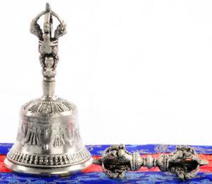 Glocke Ghanta 13,5 Cm Silbern Im Set Mit Dorje Und Hülle Handarbeit