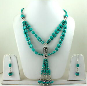 NATURAL-TIBETAN-TURQUOISE-GEMSTONE-BEADED-NECKLACE-amp-EARRINGS-77-GRAMS
