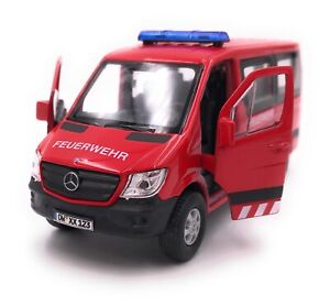 Mercedes-Benz-Model-Car-With-Desired-License-Plate-Fire-Sprinter-Red-1-3-4