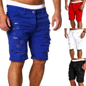 Moda-Para-hombres-Pantalones-De-Mezclilla-Ajustados-Recto-rasgada-agujero-Informal-Calce-Ajustado