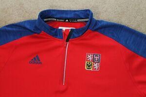 Adidas-Team-Czech-Republic-1-4-Zip-Pull-Over-Shirt-World-Cup-of-Hockey-2016-XL