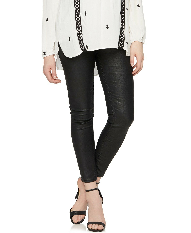 VIGOSS PEA IN THE POD Maternity Skinny Coated Jeans Vegan Leather Blk, Size 26